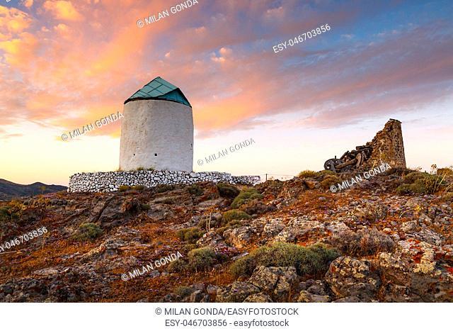Old windmills on Kimolos island in Greece.