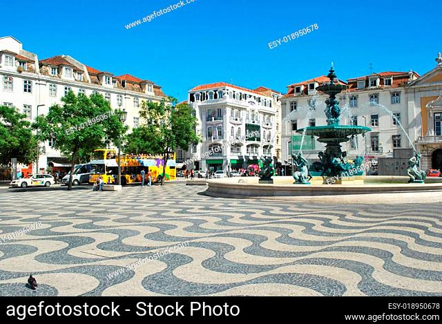 Famous square and fountain in Lisbons downtown, Portugal