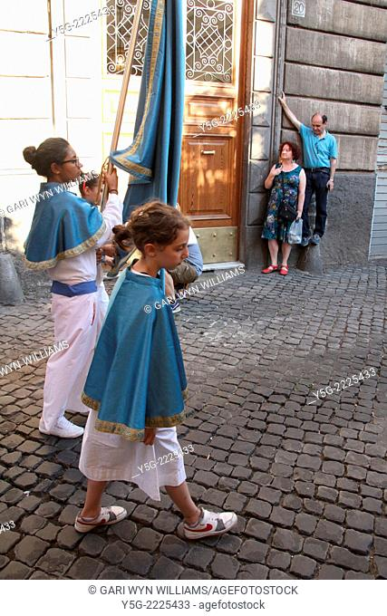 Rome, Italy 19th July 2014 Festa de Noantri celebrations - The solemn procession in honour of Madonna del Carmine also known as ''de 'Noantri''