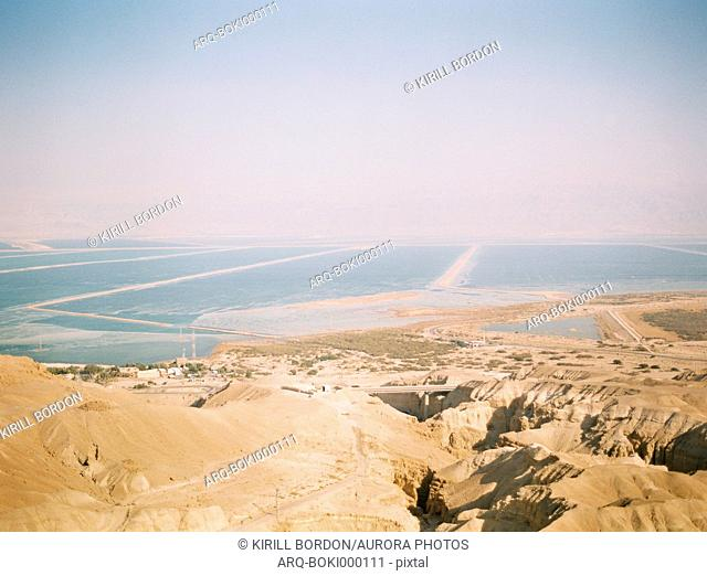 Scenic view of desert and sea, Eilat, Southern District, Israel