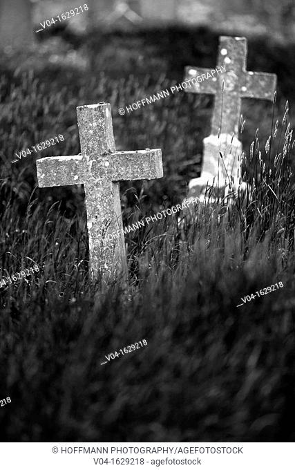 Crosses at a graveyard at Burrishoole Abbey, County Mayo, Ireland, Europe