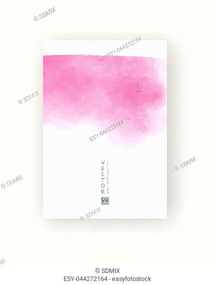 Card with vector hand drawn watercolor background. Coral watercolor element for invitation, postcards, business cards and others