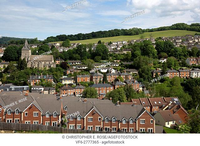 View over Stroud town, Gloucestershire, Cotswolds, UK