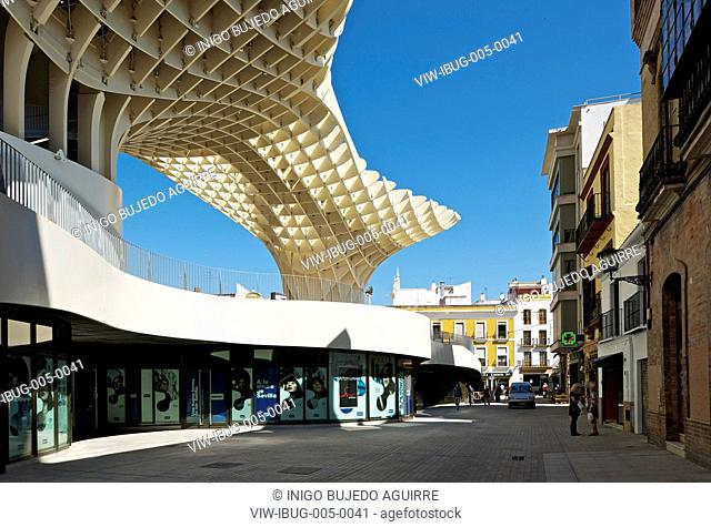 METROPOL PARASOL BY J MAYER H ARCHITECTS IN SEVILLA SPAIN. Morning view of commercial outlets, SEVILLA, SPAIN, Architect