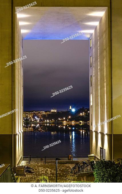 Stockholm, Sweden The neighborhood of Södermalm seen through arches on Liljeholmskajen in winter