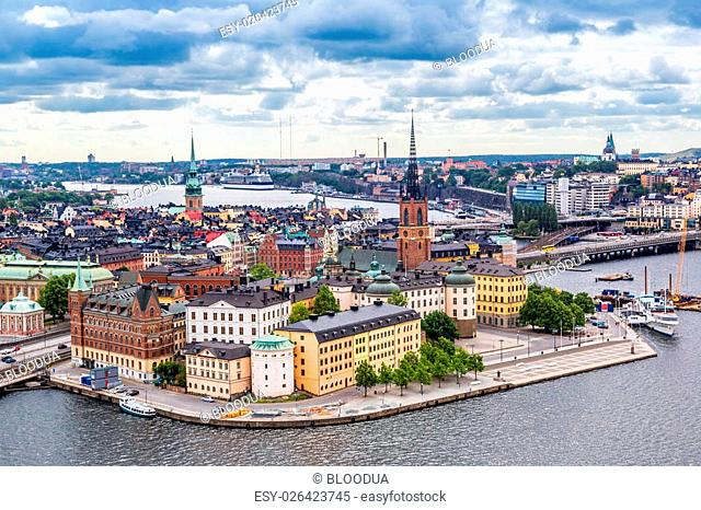 Scenic summer aerial panorama of the Old Town (Gamla Stan) in Stockholm, Sweden