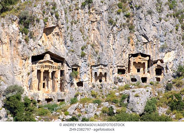 Lycian rock tombs, River Dalyan, Turkey, Western Asia