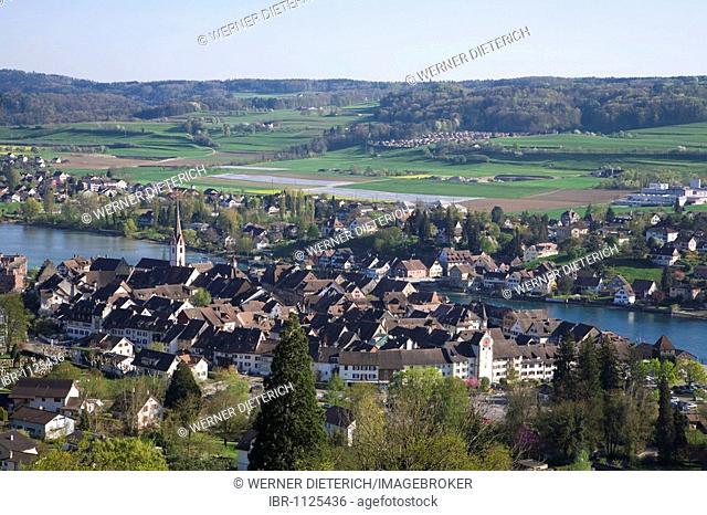 View of Stein am Rhein from Burg Hohenklingen castle, Lake Constance, Canton Schaffhausen, Switzerland