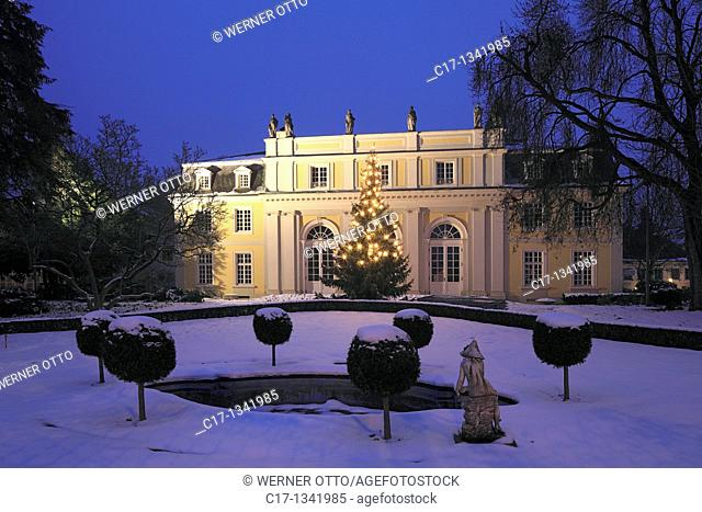 Germany, Bonn-Bad Godesberg, Redoute, Grand Hall, ballroom building, ceremonial hall, Late classicism, park, Redoutenpark, spring, well, sculpture, winter, snow