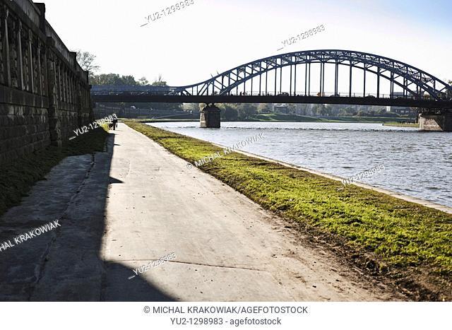 Vistula bank near Pilsudski Bridge in Krakow, Poland