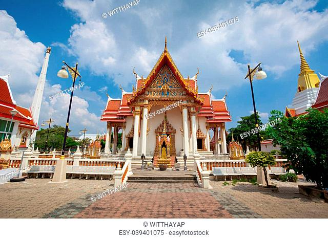 Thailand Temple with blue sky in Bangkok Thailand