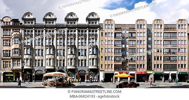 Saxony, Leipzig, Nikolaistrasse furrier, building, frontage, shopping, street, linear representation, Streetline multi perspective photography