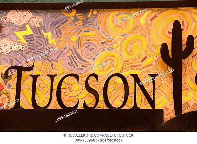 Tuscon Mosaic Sign Visitors Bureau La Placita Village Tucson Arizona USA