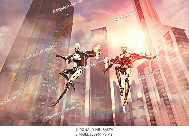 Robots flying near skyscrapers