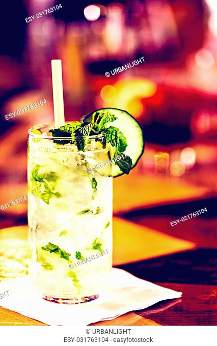 Mint Mojito with garnishes at the bar