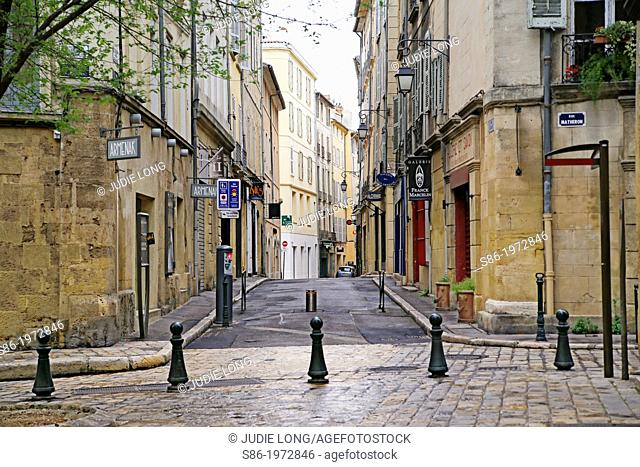 Small Town Square Bordering Rue Matheron, Aix-en-Provence, Provence, France on a Reiny April Sunday