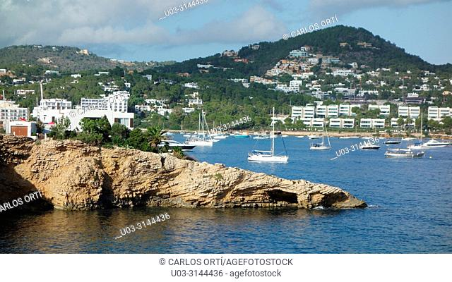 Small bay and beach near the town of Ibiza, the island's capital city, Balearic islands, Spain, Europe
