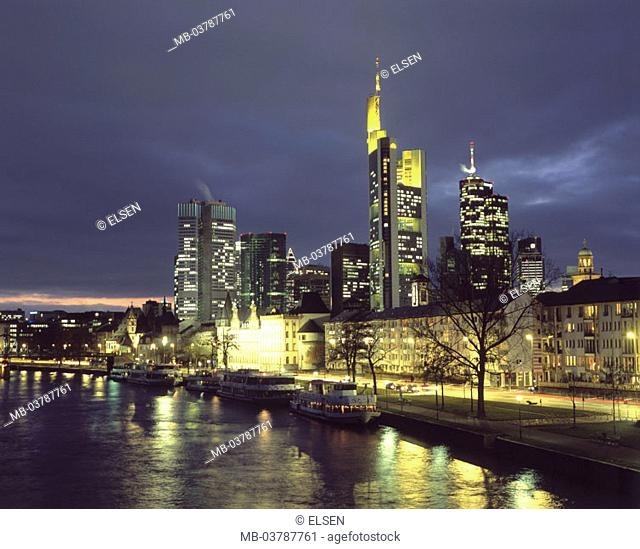 Germany, Hesse, Frankfurt on the Main,  view at the city, skyline, illumination,  River Main, evening, Europe, city, cityscape, skyscrapers, bank buildings