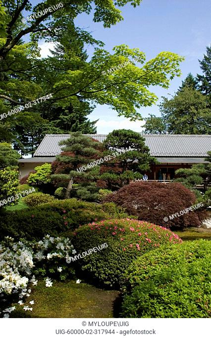 The Tea House with manicured trees & plants at the Portland Japanese garden, considered the most authentic outside of Japan - PORTLAND, OREGON