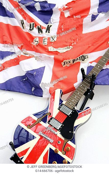 UK, England, Lancashire, Manchester, Fennel Street, Urbis Exhibition Centre, gift shop, Sex Pistols electric guitar, Union Jack