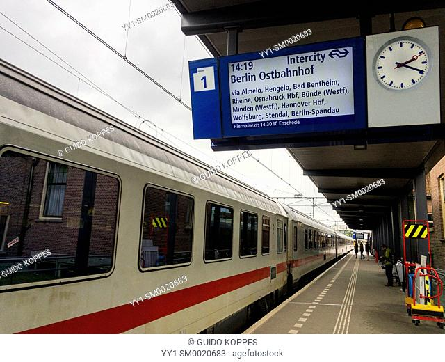 Deventer, Netherlands. International intercity train for Berlin, Germany departing from a Deventer railway-station platform