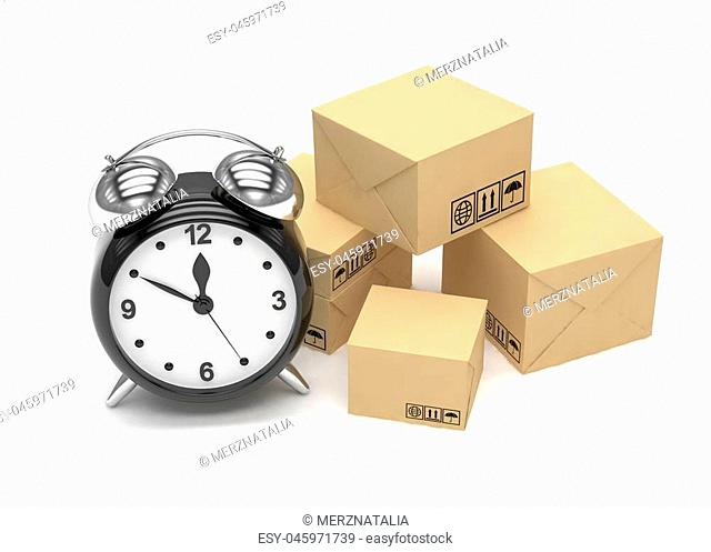 Package and alarm clock, delivery concept. 3d rendering
