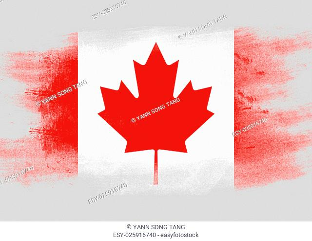 Flag of Canada painted with brush on solid background