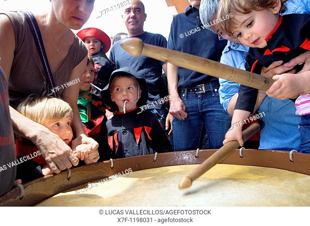 Children playing with the Tabaler's drum  La Patum Masterpiece of Oral and Intangible Heritage by UNESCO Berga  Barcelona  Catalonia  Spain
