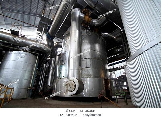 vacuum pans in a sugar mill