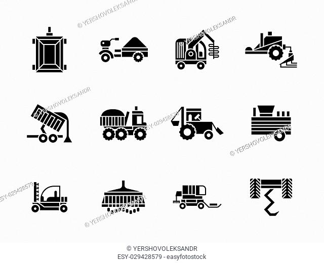 Agricultural and farming vehicles. Tractors, harvesting combine and others machinery. Collection of symbolic black glyph style vector icons