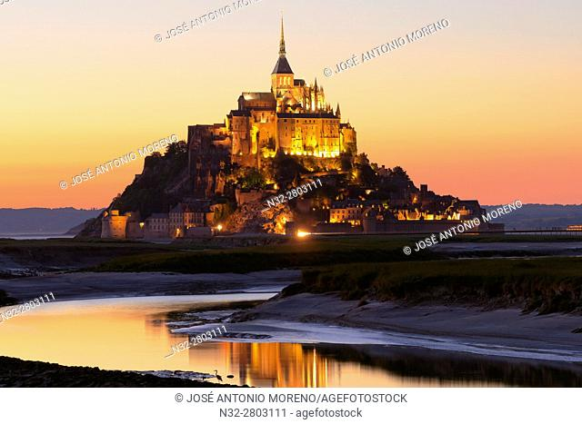 Mont St Michel, Sunset, Mont-Saint-Michel, Benedictine abbey, Pontorson, UNESCO, World Heritage Site, Manche, Normandy, France