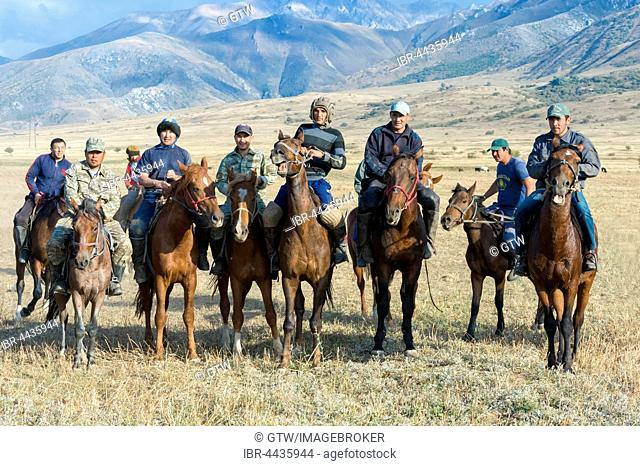 Traditional Kokpar or buzkashi on horses, outskirts of Gabagly National Park, Shymkent, South Region, Kazakhstan