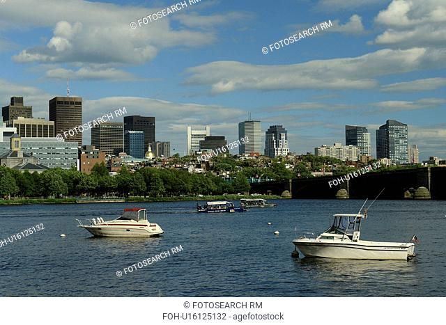 Boston, MA, Massachusetts, Charles River, downtown skyline