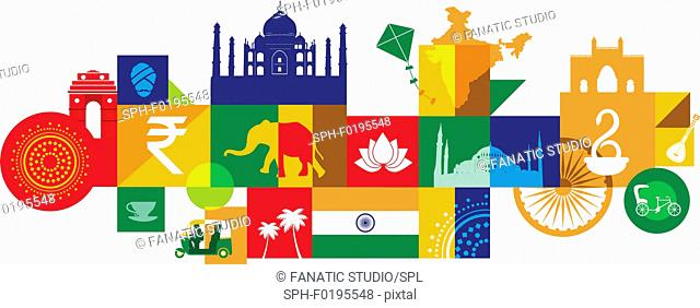 Illustration of tourist attractions in India, Asia