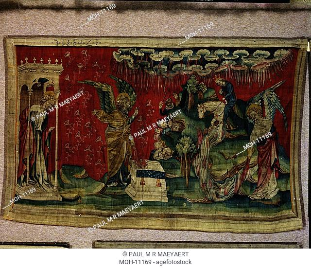La Tenture de l'Apocalypse d'Angers, Les cinquième et sixième flacons versés sur le trône de l'Euphrate 1,55 x 2,65m, der fünfte Engel gießt seine Schale auf...