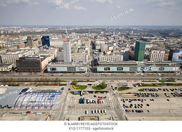 Marszalkowska street  The view is from the Palace of Culture and Science, Warsaw Poland