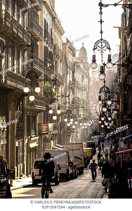 Carrer de Ferran street in Gothic Quarter in Barcelona, Catalonia, Spain