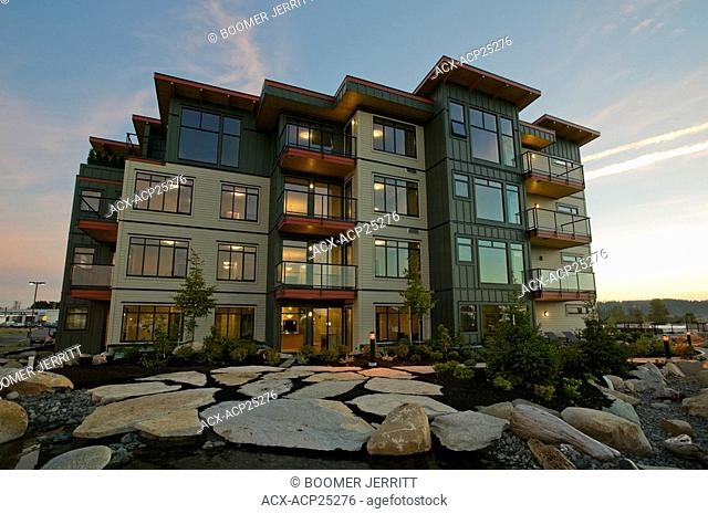 The Trumpeter's Landing condominiums, Courtenay, The Comox Valley, Vancouver Island, British Columbia, Canada