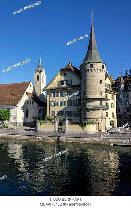 Zurgilgen House with Baghardsturm, Kapellplatz, Lucerne, Lake Lucerne, Canton of Lucerne, Switzerland