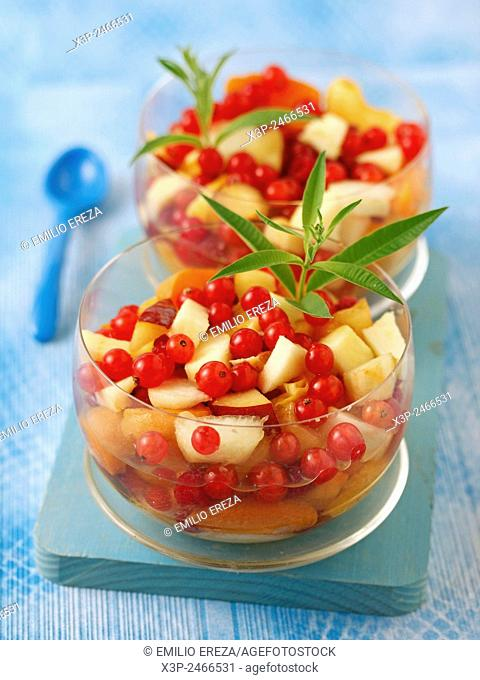 Fruit salad with lemon verbena and stevia