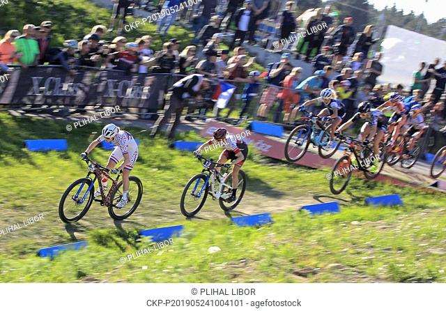 From left ANNE TERPSTRA of Netherlands and HALEY SMITH of Canada in action during the women elite Cross Country Mountain Bike World Cup event in Nove Mesto na...