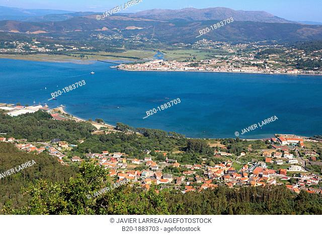 Minho River estuary, Spain and Portugal border, A Guarda, Pontevedra, Galicia, Spain, Caminha, Portugal