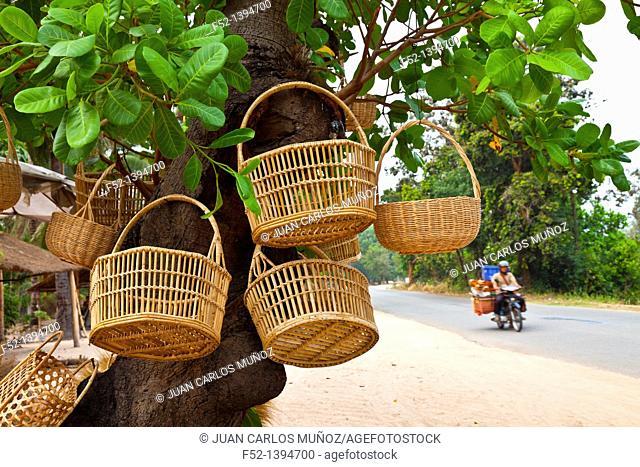 Basketwork handicrafts, Angkor, Siem Reap town, Siem Reap province, Cambodia, Asia