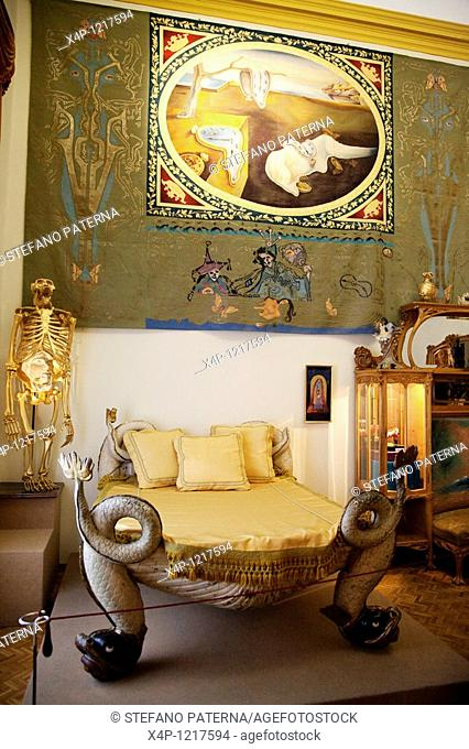 Bedroom. Teatre-Museu Dali. Theatermuseum Dali in Figueres near Barcelona, Spain