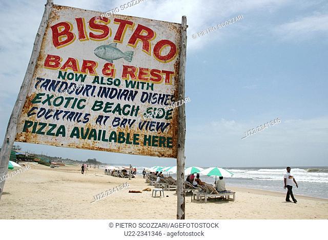 Baga, Goa, India: sign of a restaurant at the beach