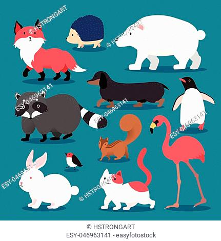 Adorable animals set - different animals in flat style