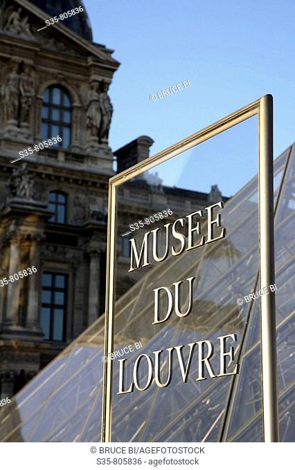 Louvre Museum entrance sign, Paris. France