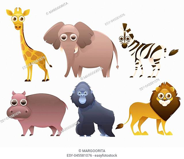 Set of African animals isolated on white background. Vector illustration