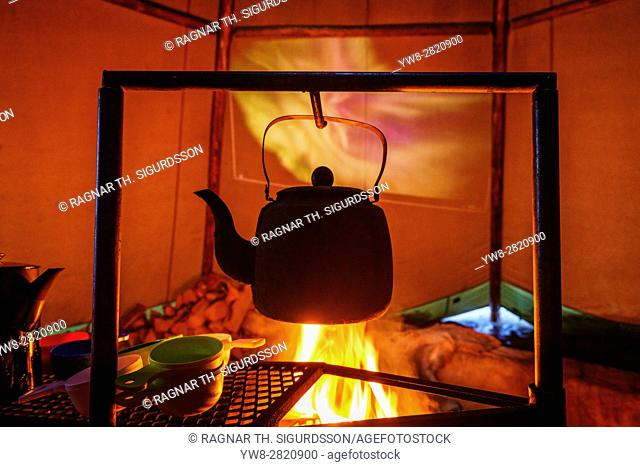 Iron Kettle over campfire, Sami Tent, Lapland, Sweden