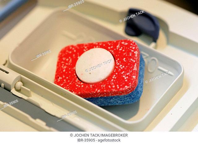 DEU, Germany: Washing up tablet for dishwasher